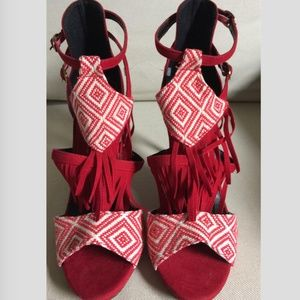 Shoes - *3 for $25* Red High Heels With Tassels NEW!